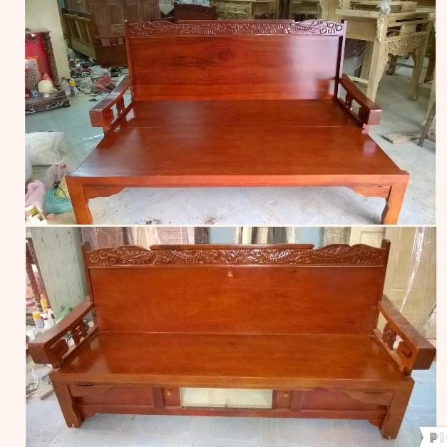 Ghế trường kỷ - đi văng - sofa giường gỗ xoan đào 01
