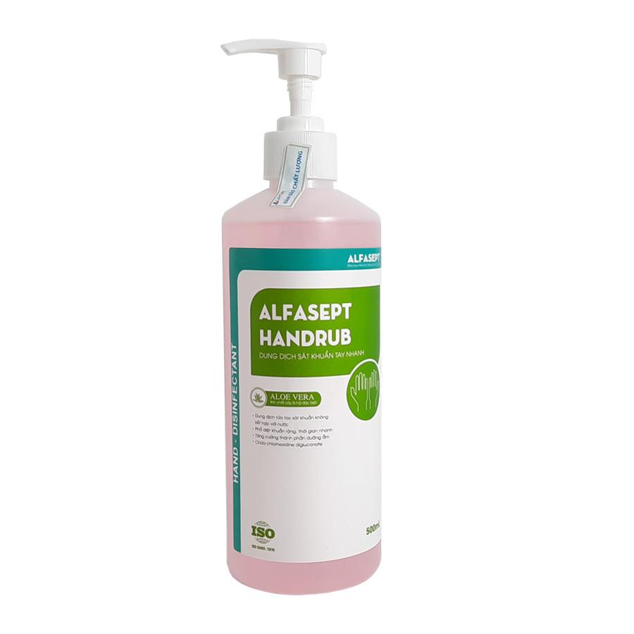 (COMBO QUÀ TẶNG) Dung dịch rửa tay sát khuẩn nhanh Alfasept Handrub 500ml + Khẩu trang vải cao cấp