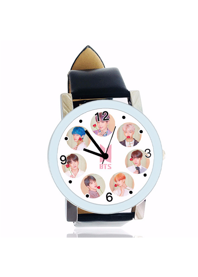 Đồng hồ BTs persona hai màu đen trắng