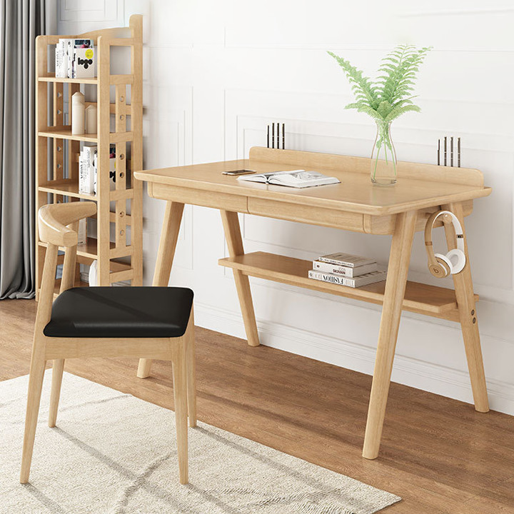 Bàn làm việc gỗ nguyên khối giá sách đơn giản máy tính Bắc Âu để nhà viết phòng ngủ học văn