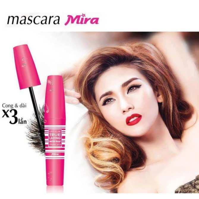 Mascara thông minh Mira Super Volume True Lasting không lem không trôi Hàn Quôc 8ml tặng kèm móc khoá