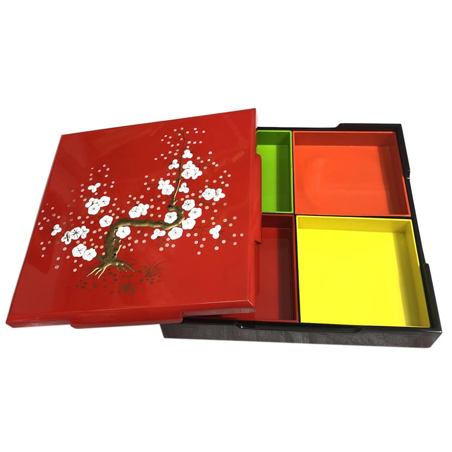 Hộp Mứt Sơn Mài Vuông 30cm - Vẽ hoa mai trắng nổi & nền đỏ