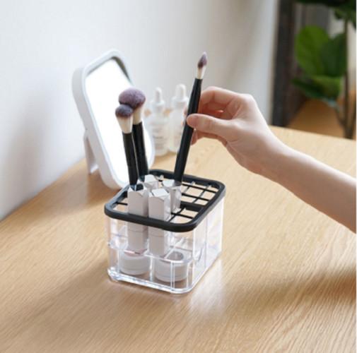 Hộp đựng son, bông tẩy trang, cọ trang điểm nhiều ngăn trong suốt, có ngăn kéo- Khay đựng mỹ phẩm, đồ trang sức hoặc đồ dùng văn phòng chia nhiều ngăn nhỏ 13.1*11.3*9.5cm