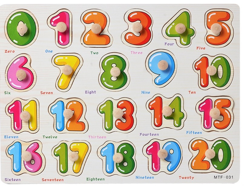 COMBO 4 bảng ghép hình núm gỗ(Giao thông, hình học, Chữ, Số)