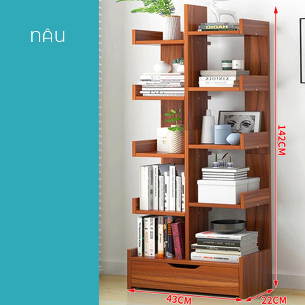 Kệ sách gỗ để bàn 10 tầng thiết kế hiện đại sang trọng có ngăn kéo rộng rãi, nguyên liệu từ gỗ ép cao cấp phủ melamine chống nước, xước hiệu quả (Giao màu ngẫu nhiên )