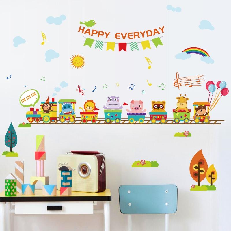 Decal dán tường Đoàn tàu chở thú Trang trí phòng cho bé đẹp