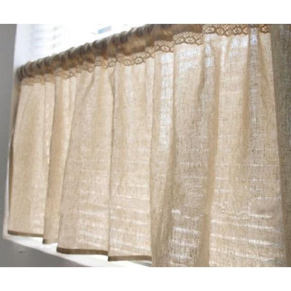 Rèm cửa sổ rèm vải canvas mỏng thô mộc kết hợp ren