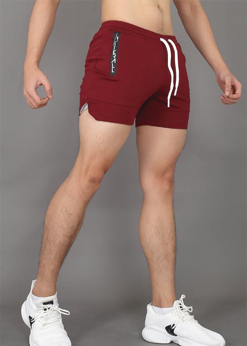 Quần Short Đùi Thun Nam Tập Gym Đi Bơi Mặc Ngủ Slim Fit Ngắn Ôm Ngang Đùi - M127 - Đỏ Đô - Size L dưới 77kg