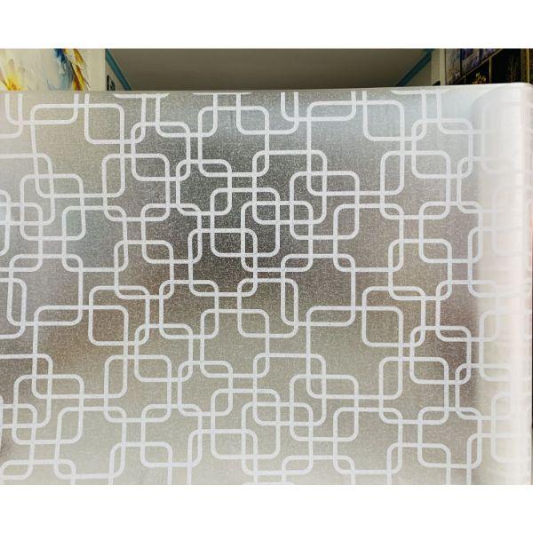 Decal dán kính ô vuông trắng - decal dán kính phòng khách - phòng ngủ - khách sạn DK55