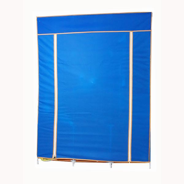 Tủ vải quần áo loại 2 buồng 6 ngăn, khung thép không gỉ - loại cửa 2 khóa- hàng Việt Nam( tặng thêm 1 ống sắt chống sơn tĩnh điện dự phòng)