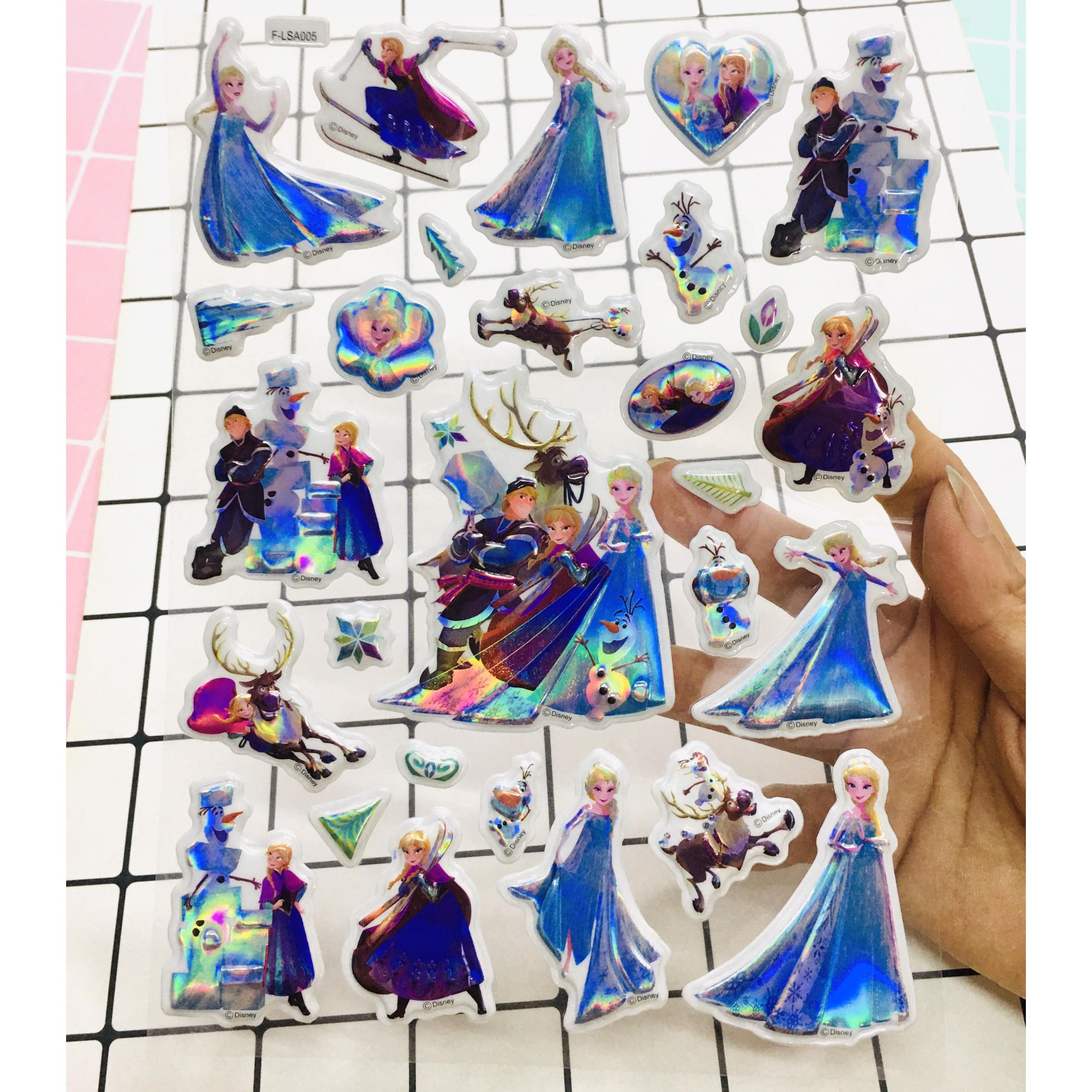 Hình Dán sticker ELSA Nổi 3D set 3 bảng ( 84 miếng ảnh )