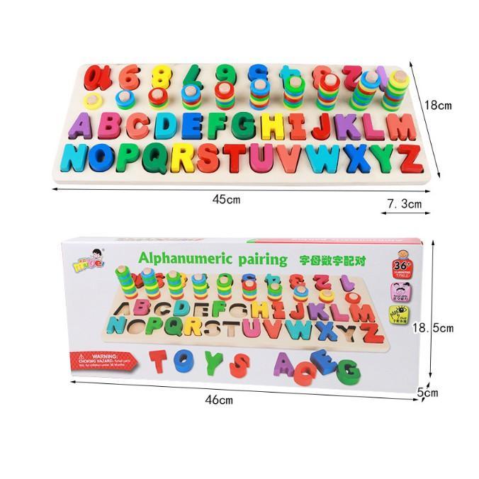 Đồ chơi bảng cọc số và chữ cái đa năng cho bé - bảng số Mot