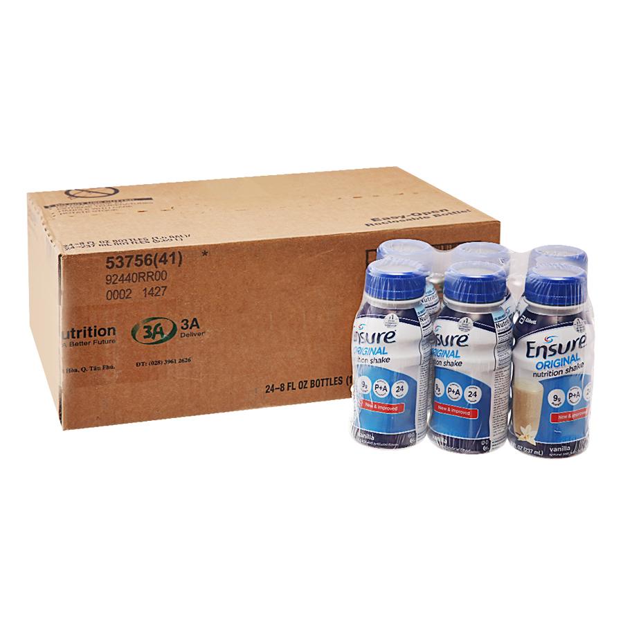 Thùng 24 Chai Sữa Nước Abbott Ensure Liquid Vanilla 237ml x 24