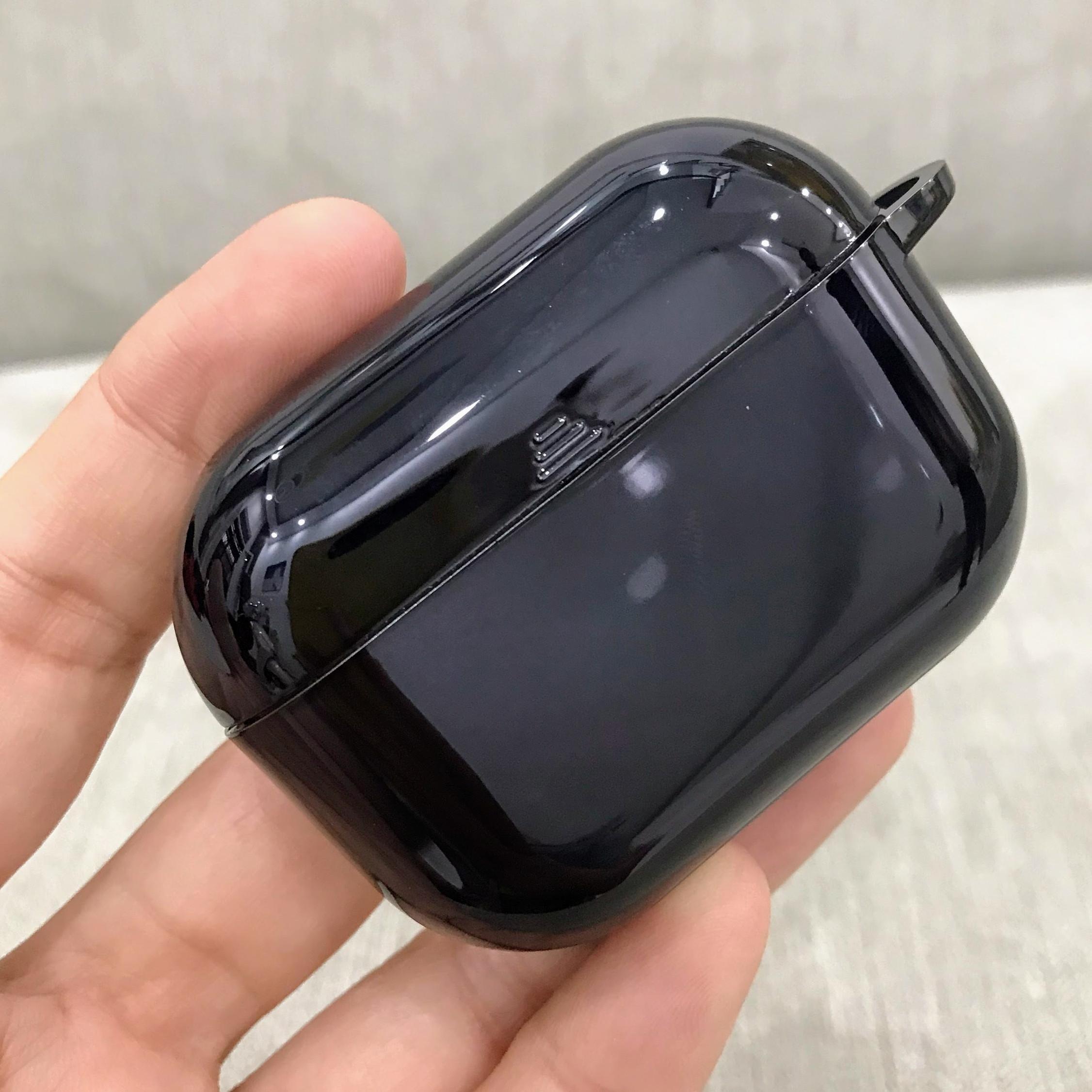 Case Airpods Pro Cao Cấp - Ốp Bảo Vệ Dành Cho Airpods Pro - Nhựa Silicon Mạ Crom Bóng Kèm Dây Đeo - Màu Đen