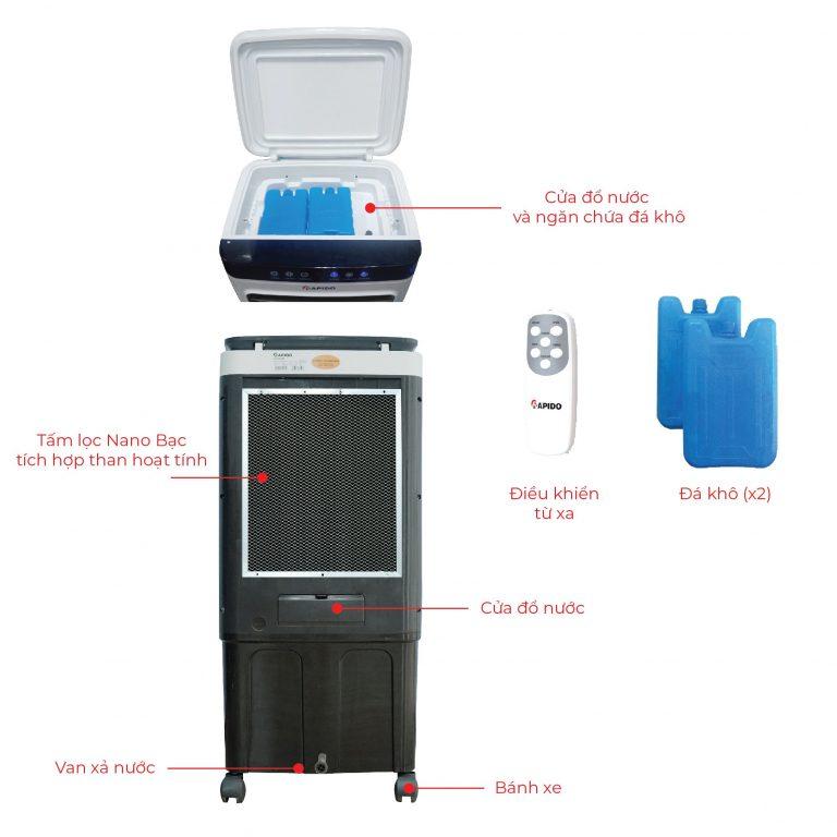 Quạt hơi nước, điều hòa kết hợp làm sạch không khí Rapido Everest 6000D (Cảm biến chất lượng không khí, Điều khiển cảm ứng + remote) - Hàng Chính Hãng