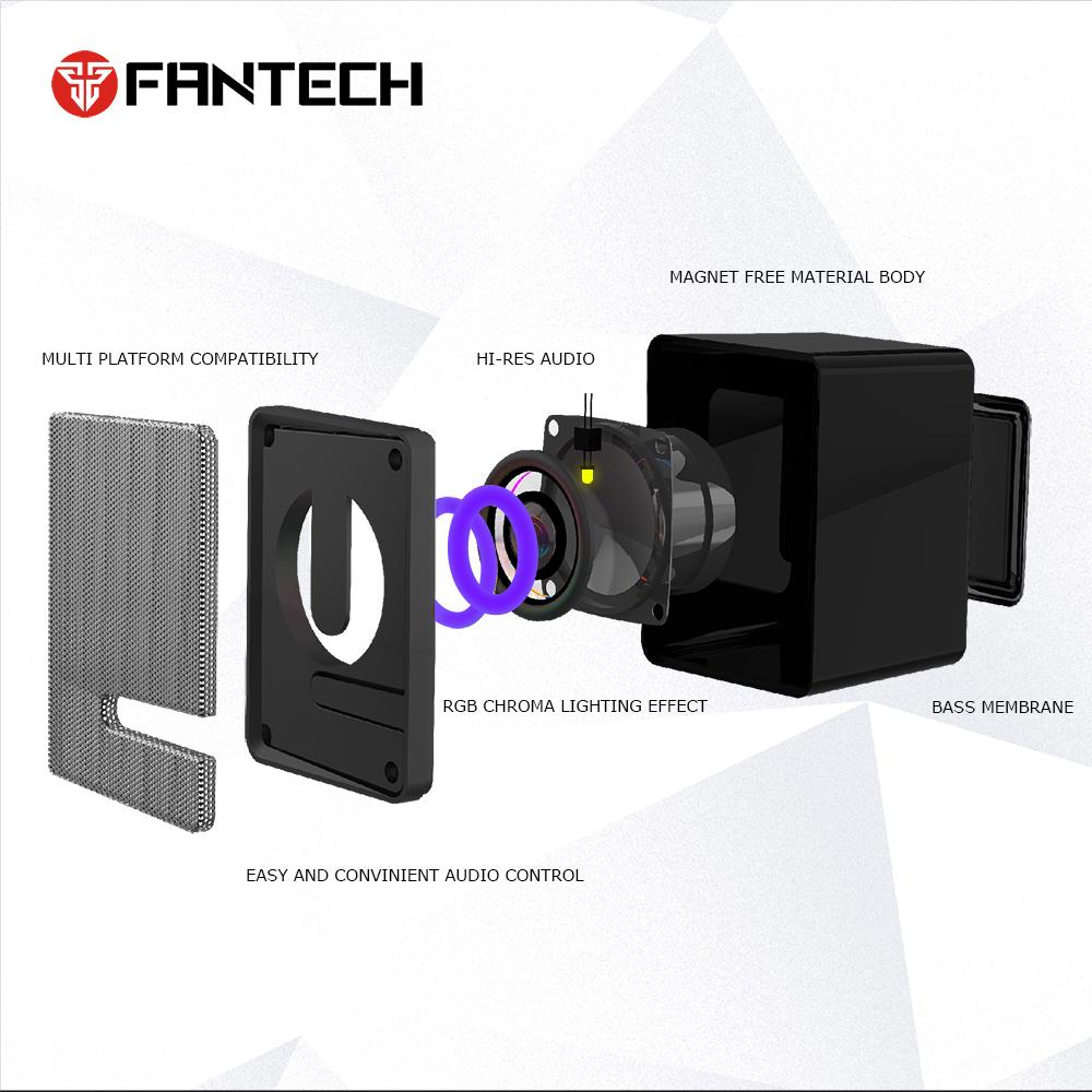 Loa vi tính Gaming có LED siêu gọn nhẹ dùng cho máy tính, laptop, điện thoại màu đen - Fantech GS203 BEAT - Hàng chính hãng
