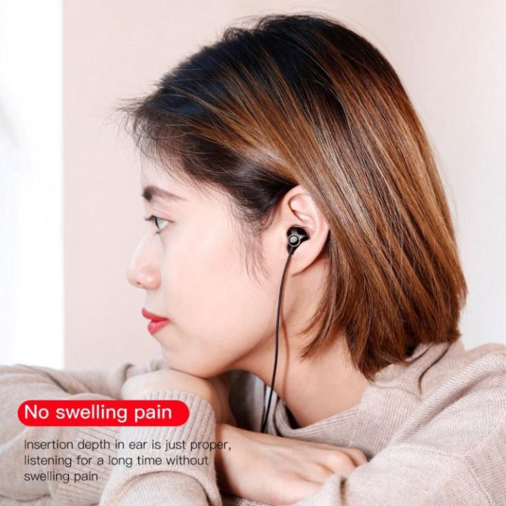 Tai Nghe Có Dây Mic Bass Âm Thanh Jack 3.5Mm Cho Iphone(Baseus Encok H06) Samsung Xiaomi - Hàng Chính Hãng Baseus