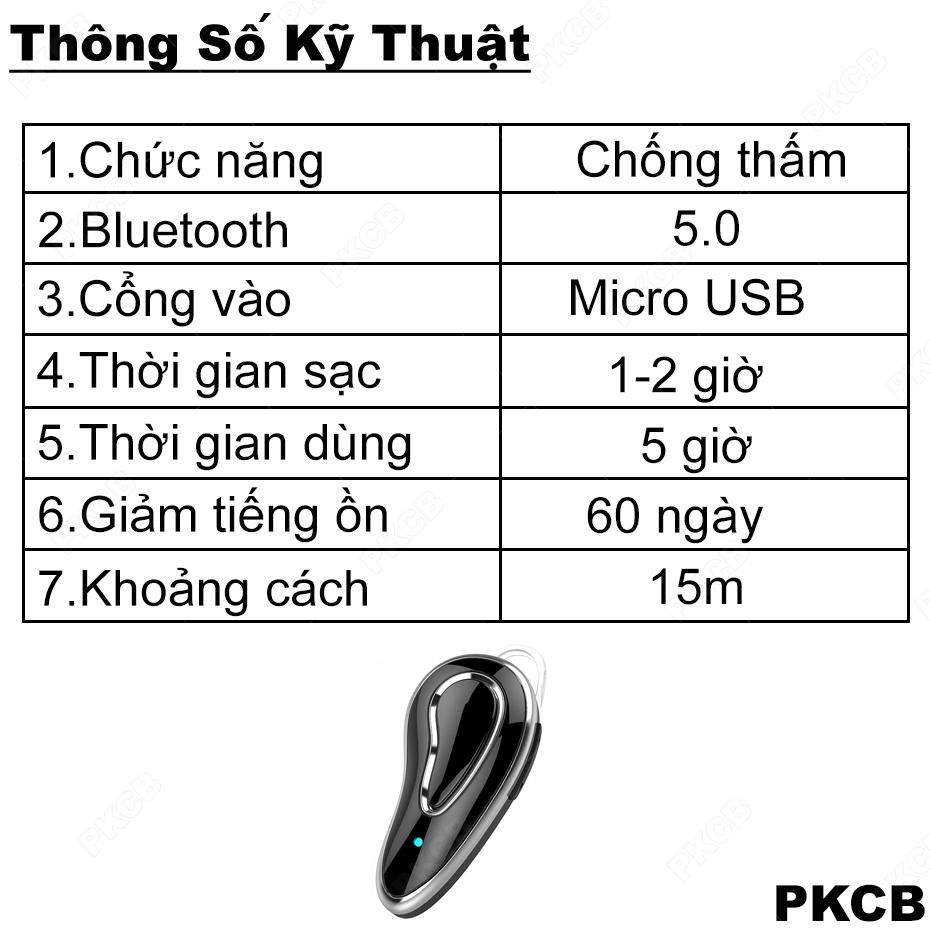 Tai Nghe Bluetooth Nhét Tai Không Dây Nhỏ Gọn Cao Cấp Âm Thanh Trung Thực Giảm Tiếng Ồn PKCB D9 HỒNG -Hàng  Chính Hãng
