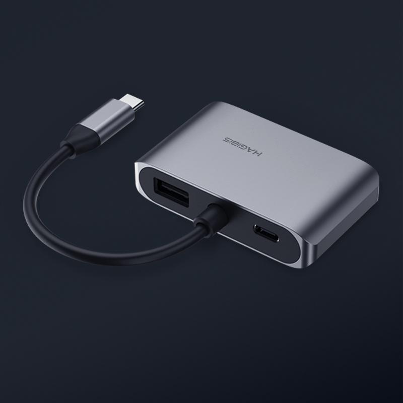 Cáp chuyển đổi Hagibis 4in1 USB-C to 4K HDMI/VGA/USB 3.0/PD cho Macbook, Laptop, Tablet, Điện thoại - Hàng nhập khẩu