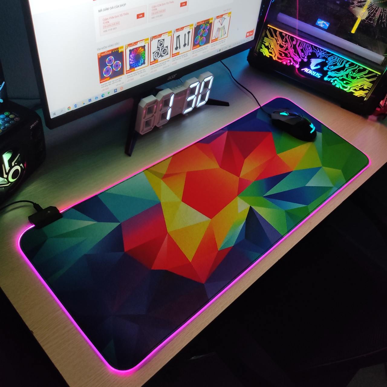 Mouse Pad, bàn di chuột, lót di chuột tích hợp Led sáng viền, phiên bản Overlay kích thước 80cm x 30cm dày 4mm