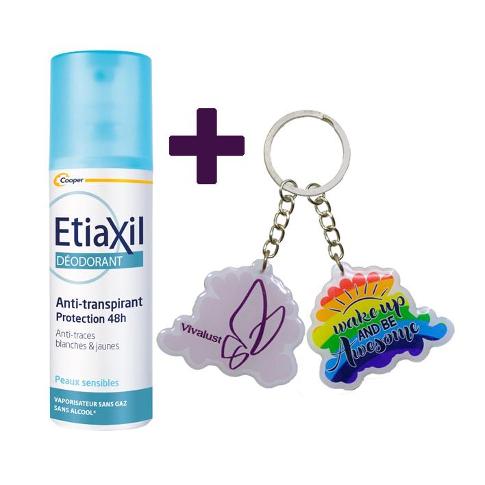 Xịt Khử Mùi Hàng Ngày Etiaxil Déodorant Anti-Transpirant  48H Peaux Sensibles Vaporisateur (100ml) + Tặng 1 Móc Khóa Nhựa 2 Mặt