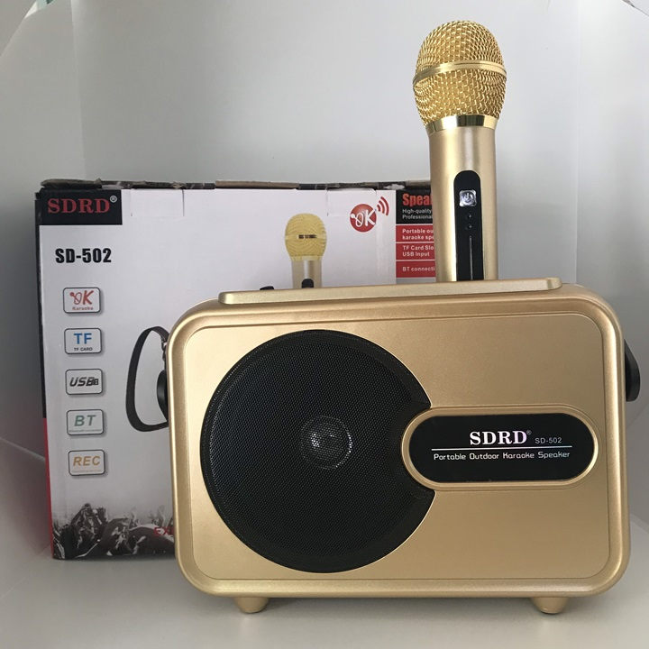 Loa Karaoke Bluetooth SD-502 Tặng kèm Micro không dây Vàng - Hàng nhập khẩu