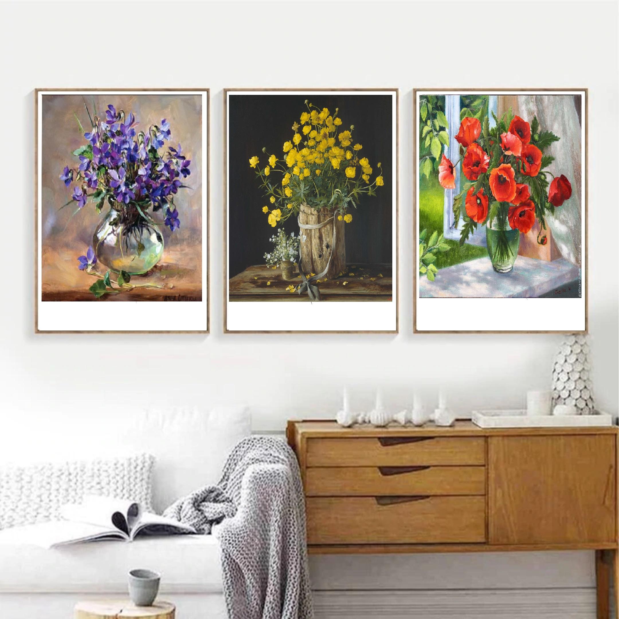 Bộ 3 tranh LỌ HOA CỔ ĐIỂN PHONG CÁCH SƠN DẦU treo tường trang trí phòng khách,phòng ăn, phòng ngủ, PVP-DC302