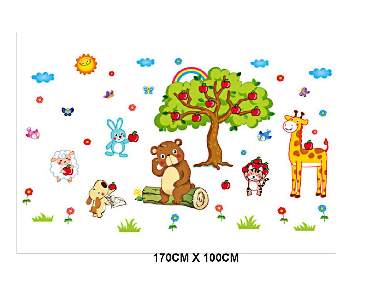 Decal dán tường cho bé thú ngồi gốc táo ngộ nghĩnh xl8205