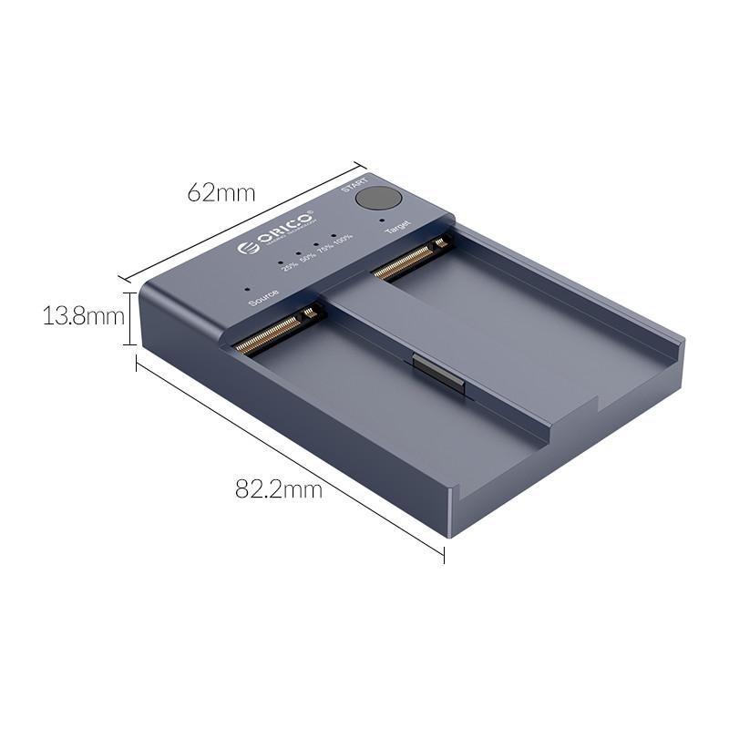 Đế Ổ Cứng 2 Khe Cắm SSD ORICO M2P2-C3-C-GY (Xám) NVME M.2 Tốc độ 10Gbps -Hàng Chính Hãng