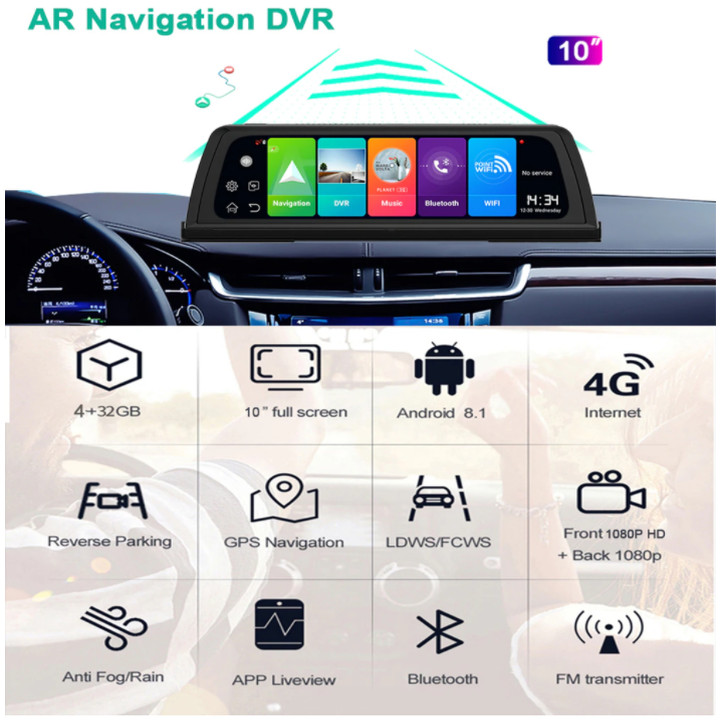 Camera hành trình nhãn hiệu Whexune V900 đặt taplo ô tô tích hợp cam lùi, 4G, wifi, hệ điều hành Android 8.1, màn hình cảm ứng 10 inch - Hàng Nhập Khẩu