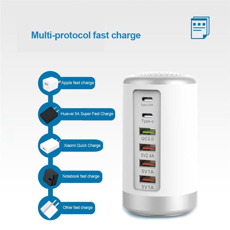 Bộ chia 6 cổng 65W USB Charger PD+QC3.0