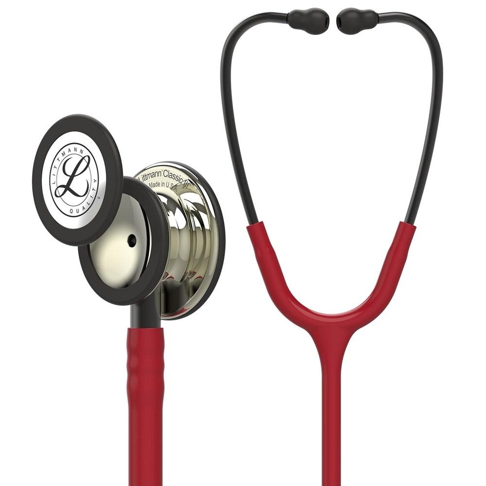 Ống nghe 3M Littmann Classic III, dây màu đỏ Burgundy, mặt sâm banh, 27 inch, 5864