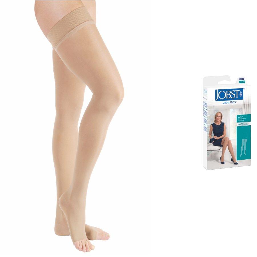 Vớ/tất y khoa JOBST UltraSheer - Siêu Mỏng Hỗ Trợ Điều Trị giãn tĩnh mạch chân, 20-30 mmHg, đùi, màu da, hở ngón