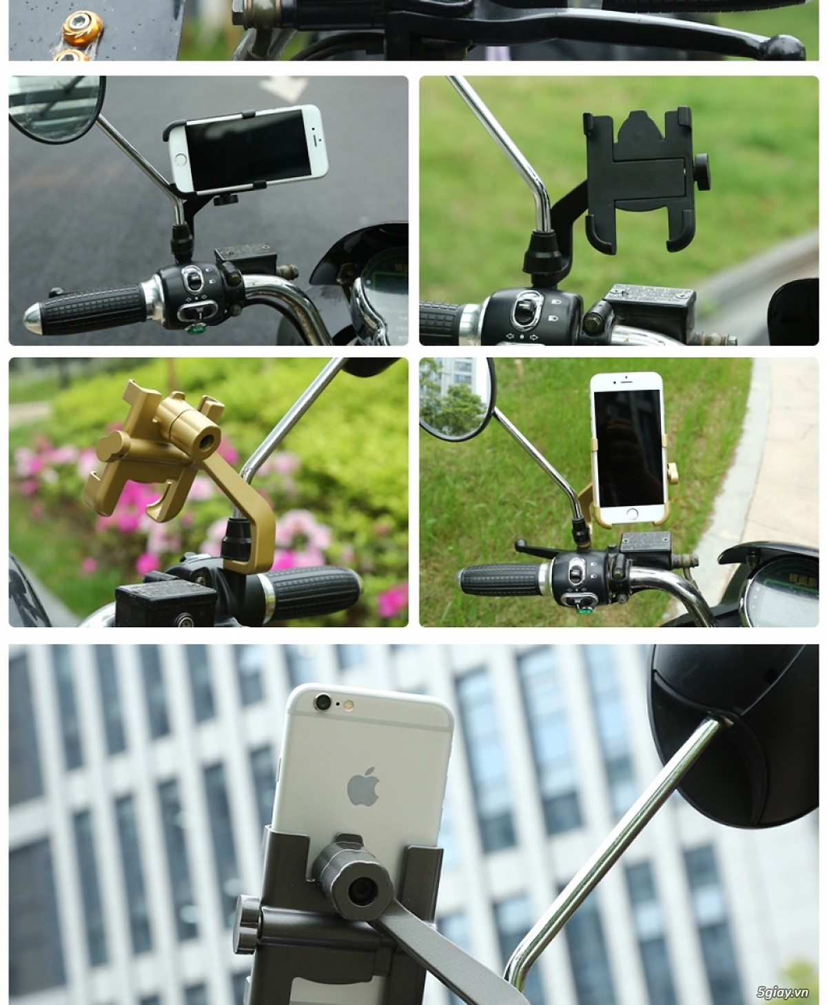 Giá kẹp điện thoại chống trộm, chống rung lắc cho xe máy