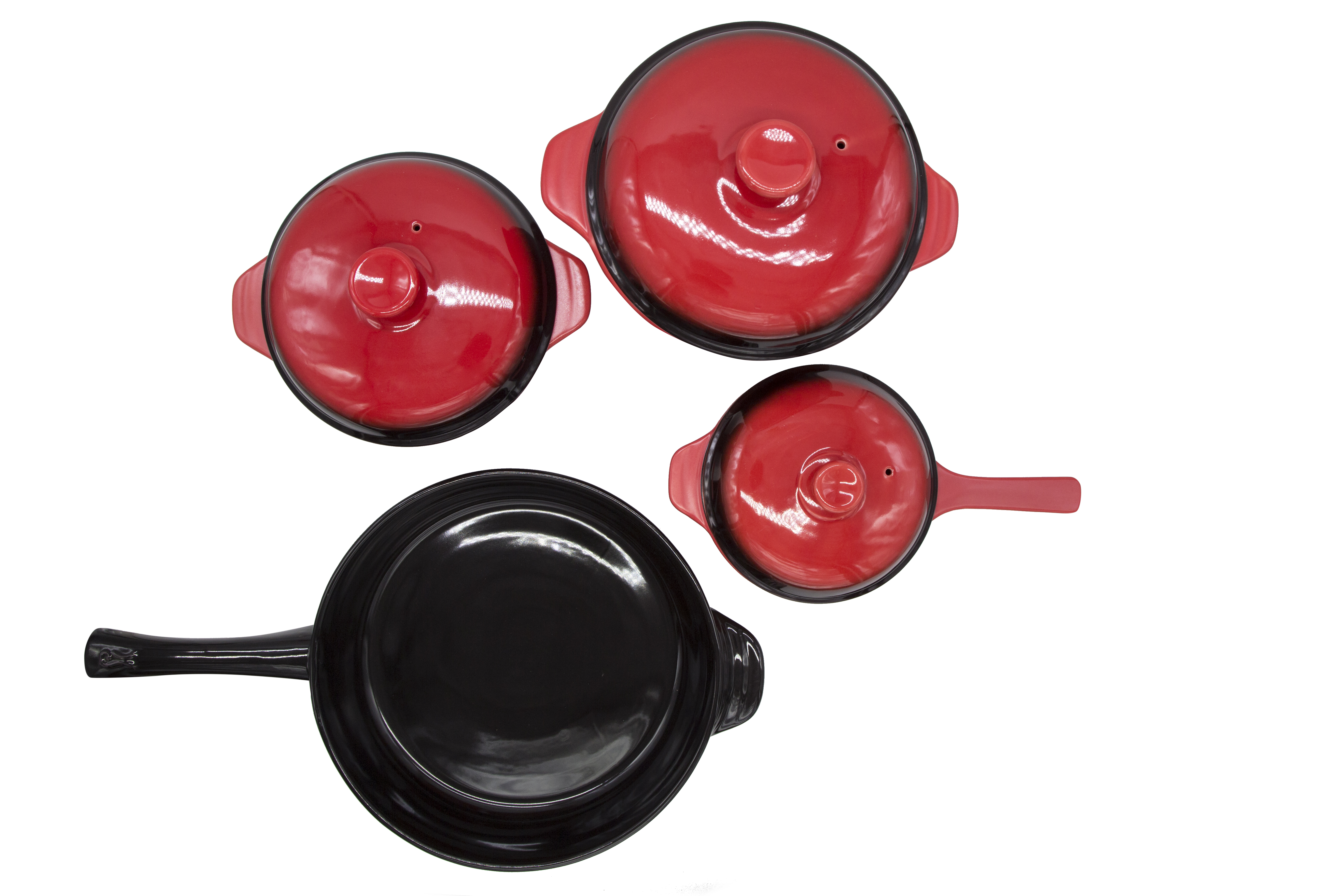 Combo Bộ 3 nồi sứ Red Candy + Chảo sứ tròn phi 33cm Royalcooks