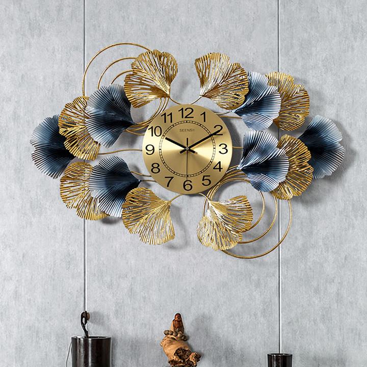 Đồng hồ phù điêu lá Ginkgo 8804,trang trí treo tường, Trang trí nhà cửa, không gian phòng khách