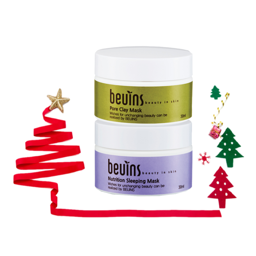 Combo 2 Mặt Nạ Beuins: Cung Cấp Dưỡng Chất Nutrition Sleeping Mask & Se Khít Nang Lông Pore Clay Mask