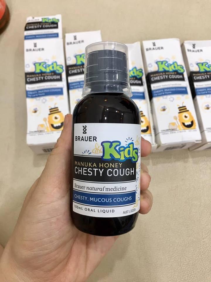 Siro giảm ho có đờm Brauer Kids Manuka Honey Chesty Cough cho bé trên 2 tuổi (100 ml)