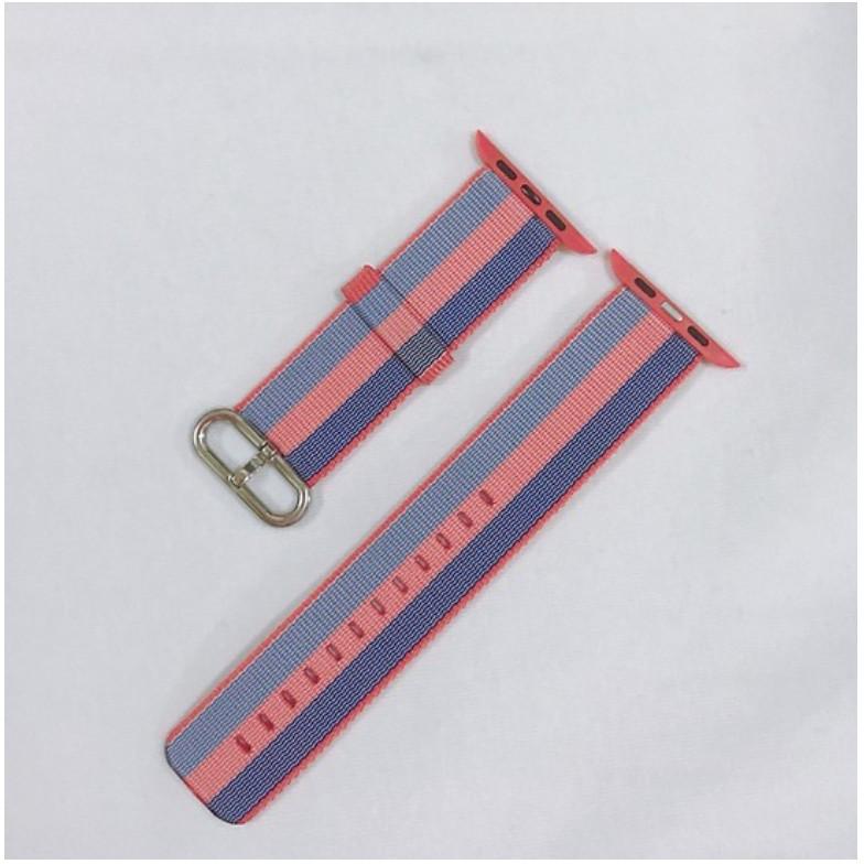 Dây đeo cho đồng hồ Apple Watch Woven Nylon màu kẻ cam xanh