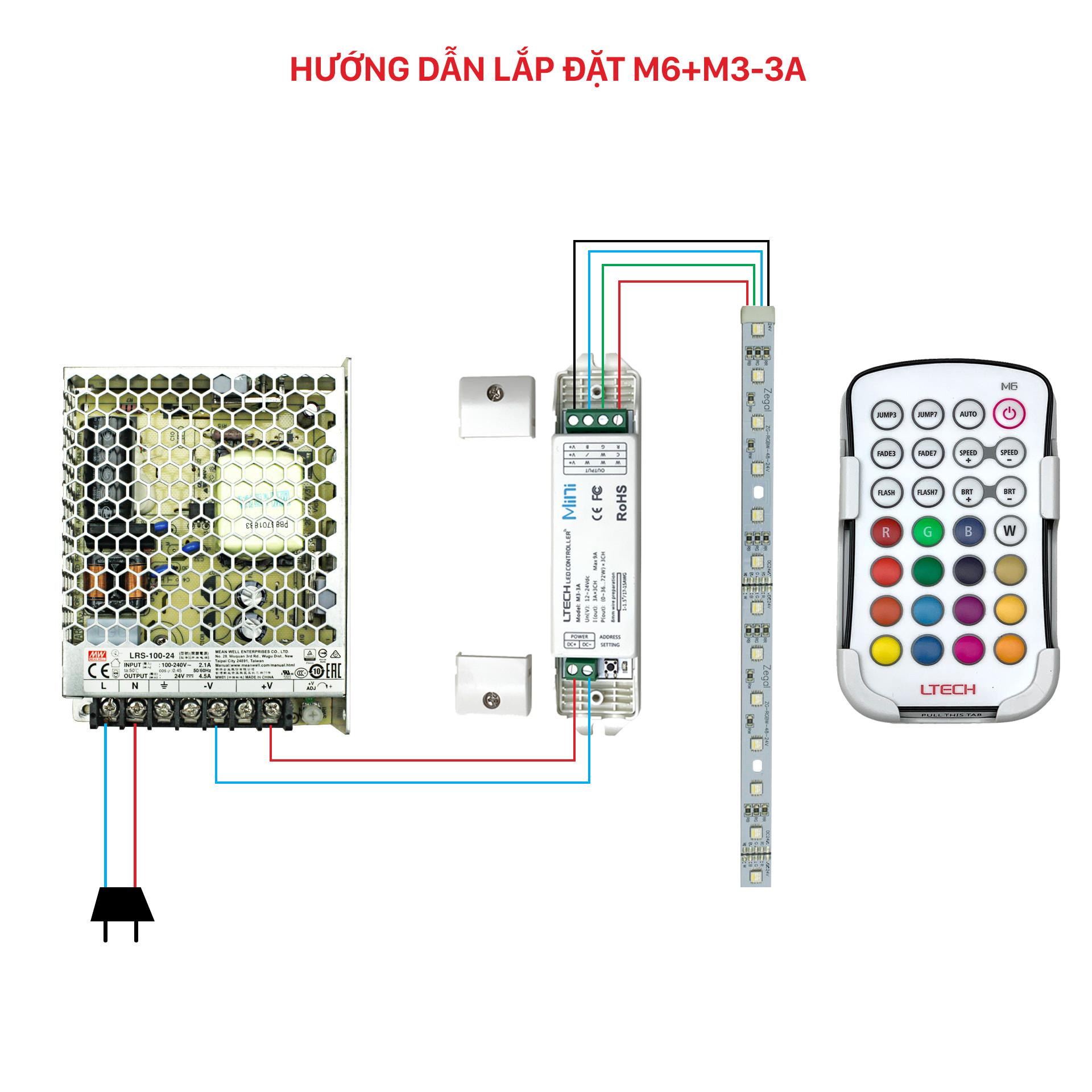 Bộ Điều Khiển Đèn Led Ltech M6+M3-3A Điều Chỉnh Màu Sắc Ánh Sáng, LED Dimmer Controller - Hàng Nhập Khẩu