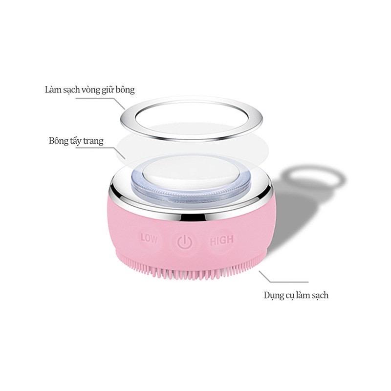 Máy rửa mặt kết hợp massage da mặt có đèn led làm trẻ hóa làn da  tặng kèm máy massage mắt