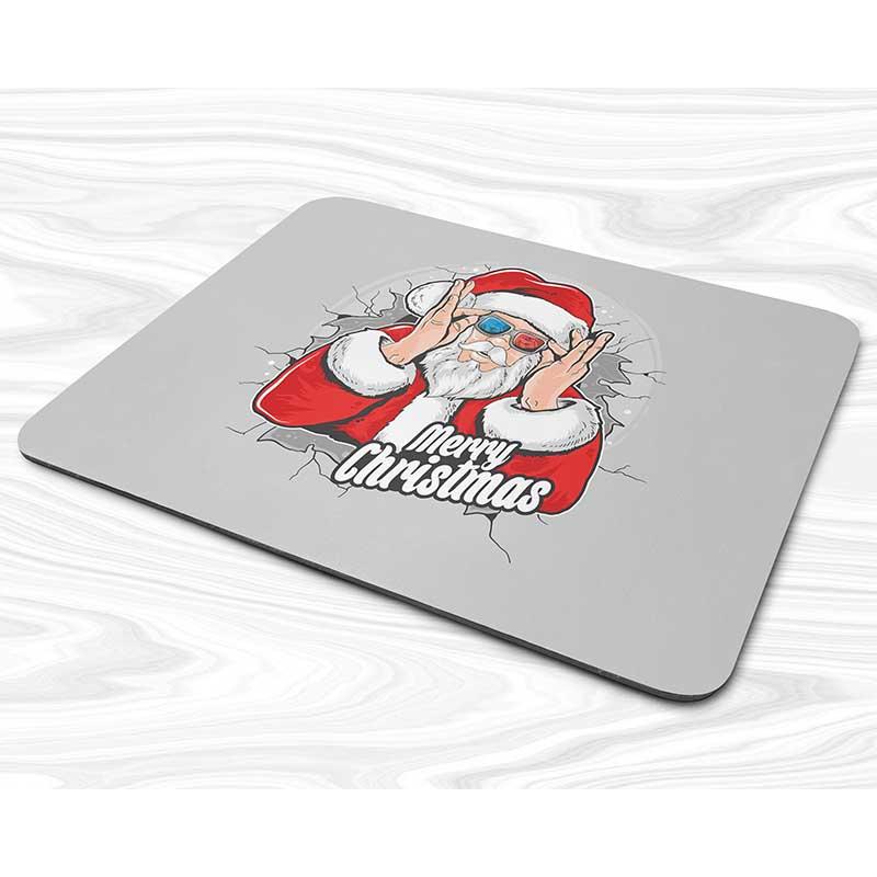 Miếng lót chuột mẫu Giáng sinh Ông già Noel cầm kính