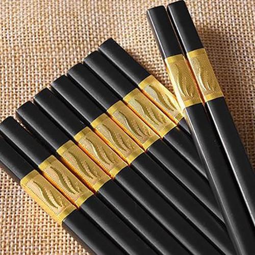 Đũa - Combo 30 đôi đũa khảm vàng - Đũa ăn viền vàng - đũa ăn cơm - đũa ăn đen viền vàng