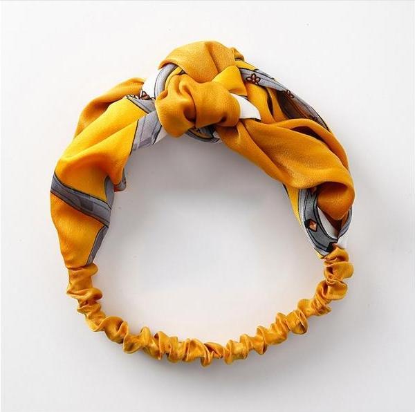 Băng đô turban vải họa tiết - Vàng