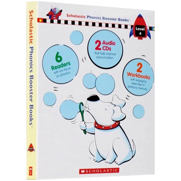 Scholastic Phonics Booster Books : Box Set Level 4 (Include 6 Books, 2 Workbooks and 2 Audio CDs)