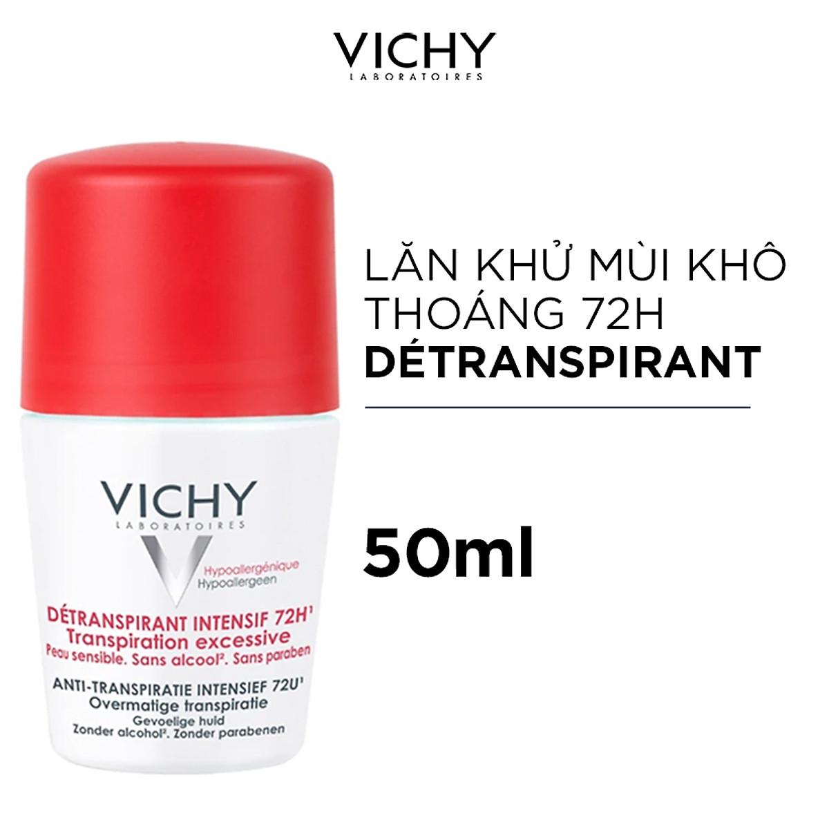 Lăn Khử Mùi Giúp Khô Thoáng Vùng Da Dưới Cánh Tay VICHY Detransprirant Intensif 72h Transpiration Excessive (50ml) - TẶNG MÓC KHÓA