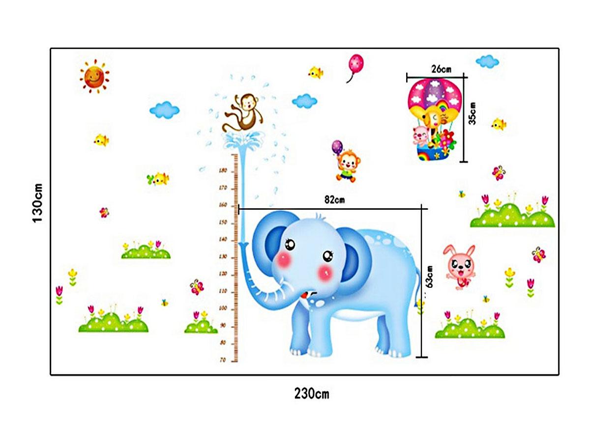 decal dán tường thước đo chiều cao chi bé thước voi xanh 2 mảnh ay232
