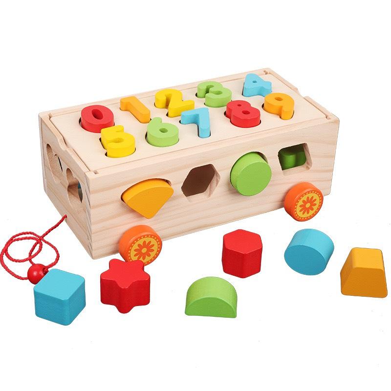 Bộ đồ chơi xe kéo thả số và hình khối Mykids