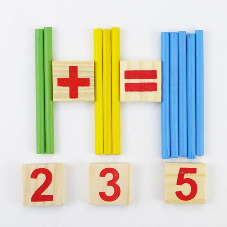 Đồ Chơi Ghép Số Và Que Tính Kèm Dấu Bằng Gỗ Giúp Bé Học Toán + Tặng Con Vật Kêu Chíp Chíp Hình/Màu Ngẫu Nhiên