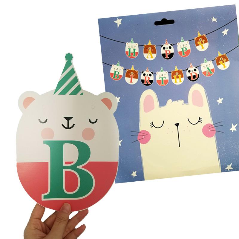 Dây treo sinh nhật Happy Birthday hình gấu dễ thương